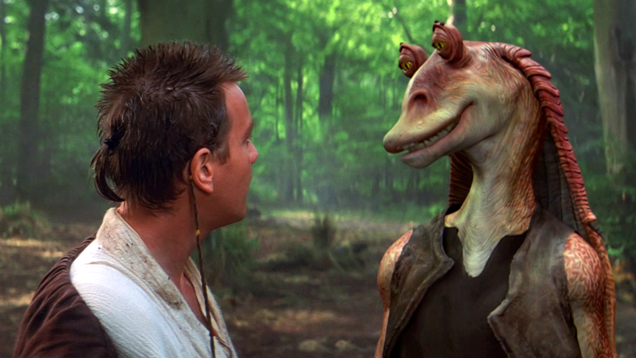 "Obi-Wan and Jar Jar Binks in "" The Phantom Menace"""