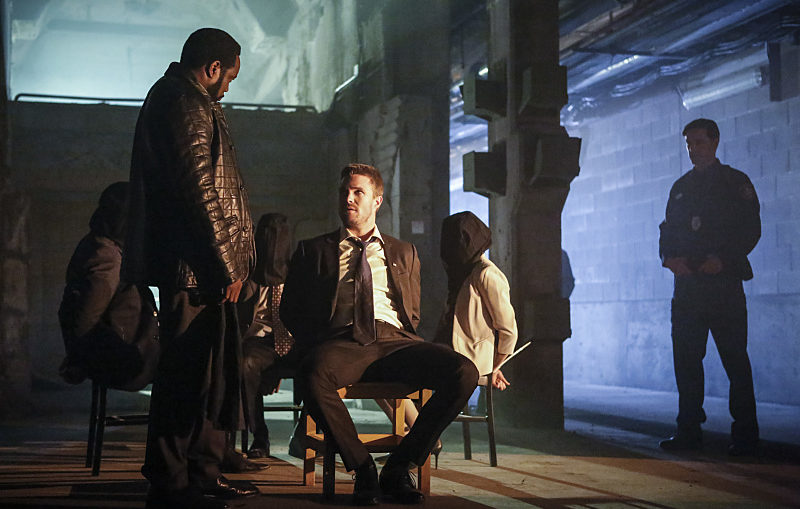 """Arrow -- """"Legacy"""" -- Image AR501c_0034b --- Pictured (L-R): Chad Coleman as Tobias Church and Stephen Amell as Oliver Queen -- Photo: Bettina Strauss/The CW -- © 2016 The CW Network, LLC. All Rights Reserved."""