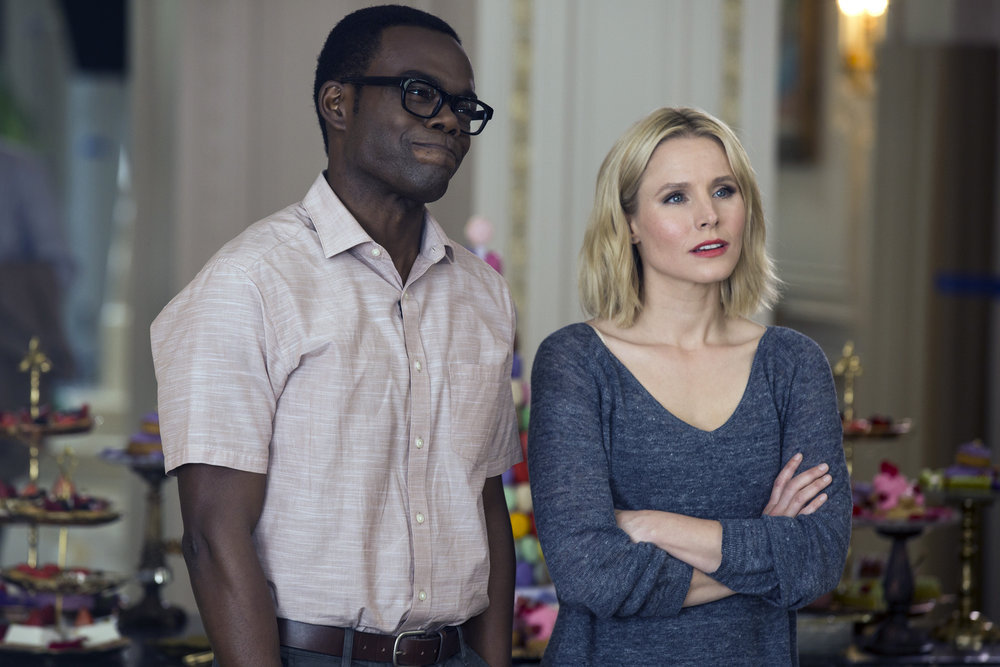 "THE GOOD PLACE -- ""The Eternal Shriek"" Episode 106 -- Pictured: (l-r) William Jackson Harper as Chidi, Kristen Bell as Eleanor -- (Photo by: Justin Lubin/NBC)"